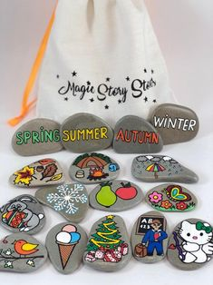 Educational toy Montessori learning, Calendar Story stones, Homeschooling, Gift for teacher Toddler Birthday Gifts, Children's Book Characters, Painted Rocks, Hand Painted, Story Stones, Printable Calendar Template, Waldorf Toys, Montessori Toys, Rock Crafts