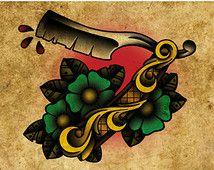 Straight Razor, Neo-Traditional Tattoo Flash, Old School, Art Print 12x16