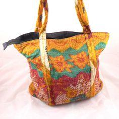 Orange Red Green Vintage Textile Indian Kantha 100% Cotton Handbag Tote Bag