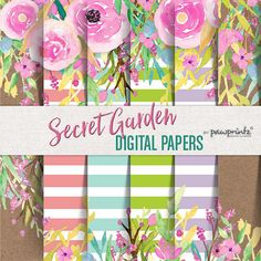 Floral Digital Paper: Watercolor/Stripes-Coral, Seafoam, Lime Green,Lavender, Kraft-Invitations,Backgrounds,Scrapbook,12x12 Secret Garden Paper Pack - Brights  Watercolor floral on stripes and kraft background. Brights palette: Coral, Seafoam Green, Lime Green, Lavender. Looks great printed on paper good (wedding, shower, engagement, birthday invitations, party printables, stickers, etc.), web and blog backgrounds, photography backdrop, event/party backdrop, home decor (pillows, mug...