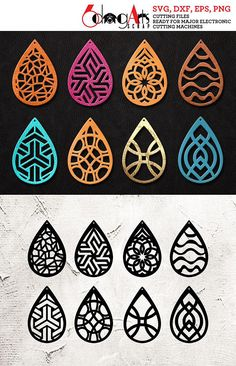 8 Leather / Wood Earring Templates Vector Digital SVG DXF Jewelry Cut Files Download Laser cnc Plasma Die Cutting Cricut Silhouette JB-1050
