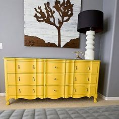 updated yellow french provincial dresser and grey wall