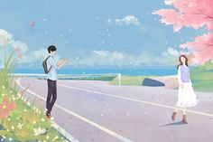 Cute Couple Drawings, Cute Couple Cartoon, Cute Couple Art, Anime Love Couple, Cartoon Girl Drawing, Cartoon Drawings, Couple Illustration, Illustration Art, Anime Korea