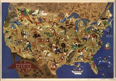 This map, by social realist artist William Gropper, was created to showcase the diversity of national myths and folk stories and was distributed abroad through the U.S. Department of State starting in 1946. (You can see it up close by clicking on the image below to arrive at a zoomable version, or by navigating to the map's page on the website of the Library of Congress.)
