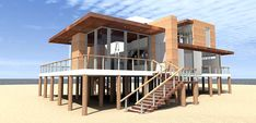 Plan to build a modern 4 bedroom beach house. Dramatic living and dining. 2490 square feet of living space. Beach House Floor Plans, Coastal House Plans, Coastal Cottage, Coastal Homes, Beach Homes, Coastal Style, Coastal Interior, Coastal Farmhouse, Cottage Living
