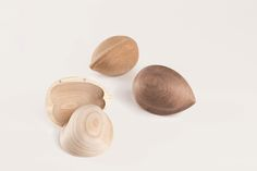 two wooden shells, something in-between a sculpture and a product: Keepsake by Kristine Bjaadal Fancy Kitchens, Walnut Shell, Animal Projects, Woodworking Magazine, Brown Wood, Scandinavian Design, Wooden Boxes, Coco, Food Art