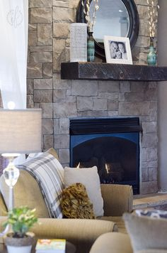 Interior Fun - Corner Fireplace, Dry-stack stone work