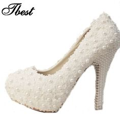 3 cm / 5 cm / 10 cm / 12 cm / 14 cm mulheres moda doce flor de pérolas sapatos de noiva sapatos de plataforma de salto alto