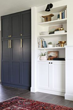 Storage Hacks That Actually Look Good IKEA Kitchen cabinets with DIY door fronts and custom paint.IKEA Kitchen cabinets with DIY door fronts and custom paint. Ikea Kitchen Cabinets, Built In Cabinets, Diy Cabinets, Ikea Kitchens, Ikea Storage Cabinets, Ikea Kitchen Remodel, Bathroom Cabinets, Built In Cupboards Living Room, Coloured Kitchen Cabinets