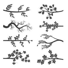 Tree branches with leaves silhouette by vectortatu on Creative Market - Modern Simple Flower Design, Simple Flowers, Flower Designs, Leaf Silhouette, Silhouette Vector, Vector Trees, Vector Art, Tree Graphic, Plant Vector