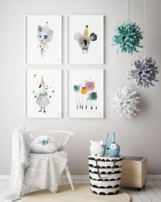 Art Prints set 4 Nursery Wall art Decor Kids Decoration Neutral Illustration Animals Elephant and Bunny Poster Play room Home Wall Hangings - Nursery ideas - Kinder Nursery Room, Nursery Wall Art, Wall Art Decor, Nursery Decor, Boho Nursery, Kids Bedroom, Nursery Design, Nursery Prints, Nursery Ideas