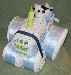 Farm Tractor Diaper Cake for Baby Shower by CushyCreations on Etsy, $64.99