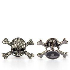 Vivienne Westwood Diamante Skull Cufflinks in Gunmetal. (I'd buy them for my man…