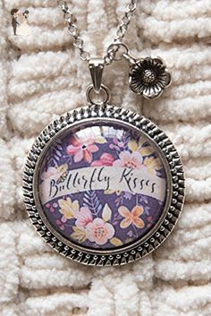 "Beautiful Floral ""Butterfly Kisses"" Necklace, Antique Silver Round Glass Dome 1.5"" Pendant, Inspirational Jewelry, Rolo Link 24"" or 30"" Oval Link Chain, Antique Silver Floral Charm included. - Wedding nacklaces (*Amazon Partner-Link)"