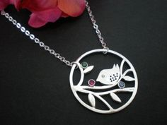 Mod Bird Silver Necklace - Handmade - Birthstones - Family Jewelry ...