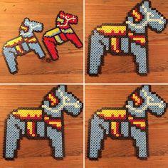 Dala horses hama beads by drottninghumlan Ding Dong, Perler Patterns, Hama Beads, Brownies, Beading Patterns, Minecraft, Helmet, Pique, Craft