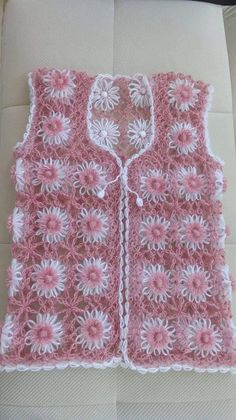 Vintage Beaded Shawl or Cardigan with Bright Contrast Crochet - Vintage Clothing - Knit Shawl - NEXT Crochet Baby Cardigan, Crochet Baby Clothes, Crochet Blouse, Crochet Motif, Crochet Patterns, Loom Knitting, Baby Knitting, Crochet Dress Outfits, Blouse Outfit