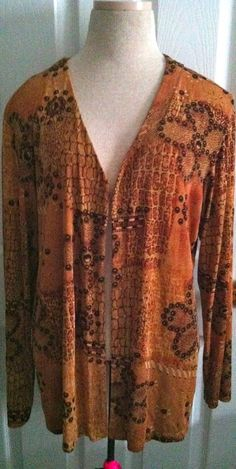 04fb31ffd3e82 Chico s Travelers Open Front Slinky Cardigan Jacket Brown Floral Size 3 XL   Chicos  Cardigan