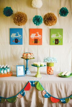 Vintage Vespa Scooter Inspired Birthday -Party Bunting on the dessert table (using the fabric inspiration!)