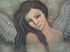 Original Angel Folk Art Painting by Lisa Lectura by lisalectura, $145.00