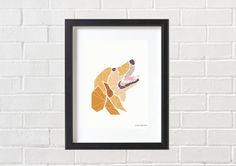 Dog Print Dog Wall Art Golden Retriever Dog Lab by PinkNosePrints