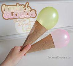 Cucuruchos de globos para decorar una fiesta.