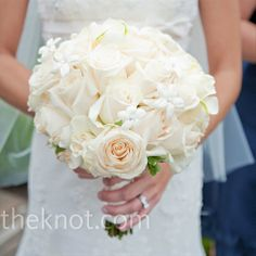 Opting for an all-white bouquet, Jen carried a mix of ivory roses, gardenias and stephanotis with crystals in the centers. Also in the mix: A small horseshoe, which is an Irish tradition and gave a nod to Jen's love of horses. Wedding Ceremony Ideas, Our Wedding, Forest Wedding, Wedding Bells, Wedding Stuff, White Wedding Bouquets, Bridesmaid Flowers, Wedding Flowers, Bridesmaids