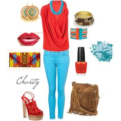 red/turquoise..skinny jeans...outfit
