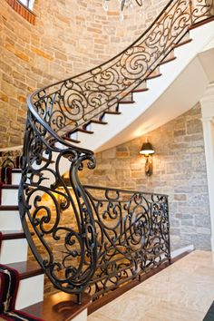 Gorgeous wrought Iron Spiral Stair railing, Hand-Forged in our shop in Lancaster, Pa.