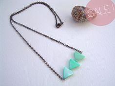 Triangle arrow aguamarine necklace- Suz Sánchez