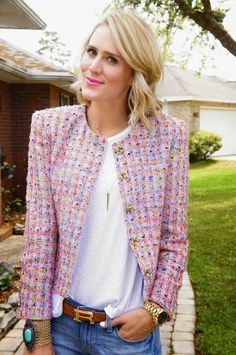 Pink Tweed Jacket, Tweed Outfit, Chanel Tweed Jacket, Blazer Outfits Casual, Simple Outfits, Spring Fashion Outfits, Chanel Style, Chanel Couture, French Chic