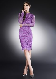 New Lilac Knee Length Lace Cocktail Dresses 2016open Back Full Sleeve Dress Party Elegant Evening New Years Eve Dresses Fashion