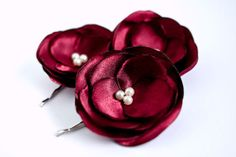 Bridesmaids Hairpieces Deep Red Burgundy Rose Hair Clips