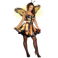 Monarch Fairy Adult Costume. If you don't know, I am not a fan of butterflies, but I think they are beautiful. Wearing this would be kinda like facing my fears and being ironic.