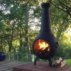 Solid cast aluminum construction with stainless steel hardware, fasteners, and mouth screen, the Prairie Chiminea is built to last. Clay Chiminea, Chiminea Fire Pit, Traditional Outdoor Fireplaces, Deck Colors, Backyard Fireplace, Fireplace Ideas, Raised Patio, Patio Makeover, Gardens