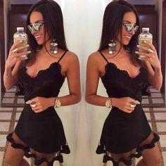 2015 saling quente sólidos new arrival mulheres casual vestido com decote em v sem mangas Chiffon lace mini vestido mulheres em Vestidos de Roupas e Acessórios Femininos no AliExpress.com | Alibaba Group