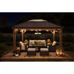 Gazebo On Deck, Backyard Pavilion, Backyard Gazebo, Backyard Patio Designs, Small Backyard Landscaping, Fire Pit Under Gazebo, Pergola Patio, Diy Patio, Diy Gazebo