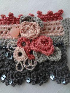 Roses in Bloom Crochet Cuff Pattern crocheted cuff by sewella