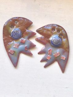 freeform torch fired enamel copper charms with murrini  & copper square inclusion