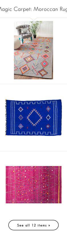 """Magic Carpet: Moroccan Rugs"" by polyvore-editorial ❤ liked on Polyvore featuring moroccanrugs, home, rugs, blue, nuloom rugs, gray trellis rug, rectangular rugs, blue geometric rug, wool area rugs and blue rugs"