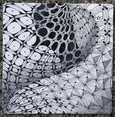By Maria Thomas, Zentangle method founder. Bales with grid variation. Tangle Doodle, Tangle Art, Doodles Zentangles, Zen Doodle, Doodle Art, Zentangle Drawings, Doodle Designs, Doodle Patterns, Zentangle Patterns