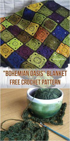 Bohemian Oasis Blanket [Free Crochet Pattern] #crochetblanket #homedecor #freepattern #crochet #bohemian
