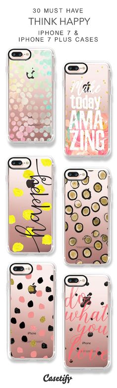 30 Most Popular Think Happy iPhone 7 Cases and iPhone 7 Plus Cases. More Polka Dot iPhone case here > https://www.casetify.com/collections/top_100_designs#/?vc=HNLiJpGp3s