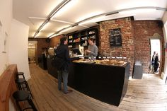 Department of Coffee and Social Affairs, London - exposed brick and reclaimed floors