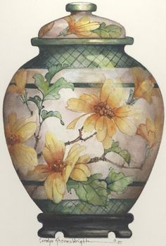 Emperor Ginger Jar 14 x 12 lithograph Watercolor Flowers, Watercolor Paintings, Porcelain Ceramics, Painted Porcelain, Fine Porcelain, Ceramic Jars, China Art, China Painting, Ginger Jars