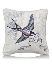 George Home Swallow Hope Fatih Love Tattoo Print Cushion 30x30cm