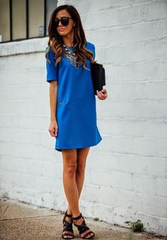 Cute style and cut of dress. Necessary Clothing Klein Blue Mini Shift Dress by Sequins & Things Corporate Wear, Australian Style, Cool Outfits, Summer Outfits, Beautiful Outfits, Girly Outfits, Look Fashion, Womens Fashion, Mode Inspiration