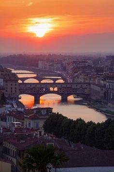 Ponte Vecchio at sunset, Florence, Tuscany, Italy