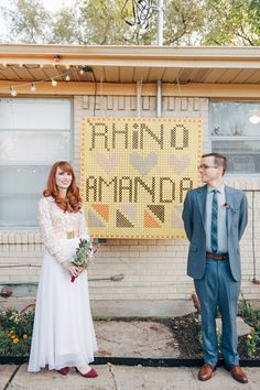 An adorable couple portrait from an adorable backyard wedding   Image by Nine Photography