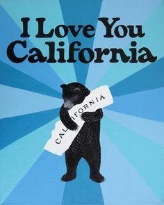 """I Love You California"" Blue Burst Print by Annie Galvin 3 Fish Studios"